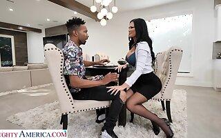 Hot white mommy Jasmine Jae seduces black lad and enjoys his huge phallus