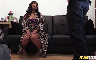 Black girl Lola seduces the dirty fake cop to help her husband escape