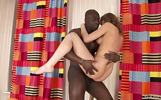 Interracial pussy drilling with adorable chick and a black dick