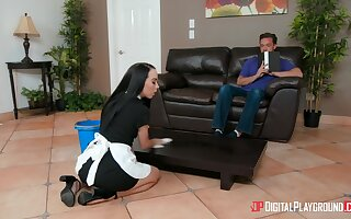 Sweet love making on the leather sofa with cleanind lady Bambi Black