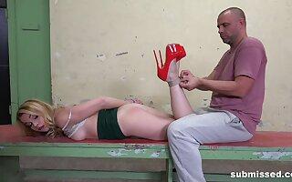 Blonde slut in high heels Rebecca Black tied up and spanked