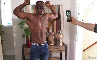 Masked well built black gay man shows off his fit body and masturbates