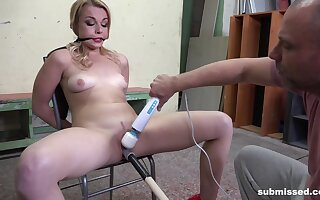 Blonde Rebecca Black tied to a chair and tortured with a vibrator