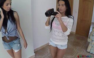 Spy cam records lesbian chicks Lexi Dona and Foxxi Black having sex