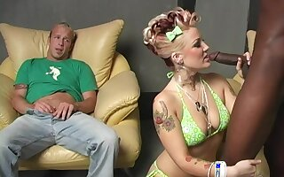 Big black cock lover Candy Monroe having sex while her husband watches