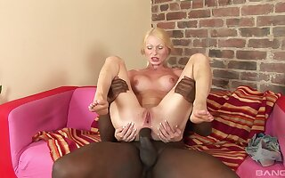 Skinny blonde sluts on her knees sucking a BBC before anal sex