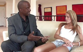 Intriguing interracial sex with the skinny step daughter