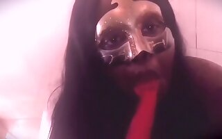 Ebony Girl in a Masquerade Mask Licking a Cherry Ice Pop & Put All Over Her
