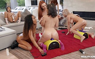 Group carnal knowledge all over fuck machines plus toys for these top lesbians