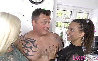 Stockinged Granny Shagged In 3Some