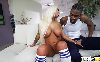 Interracial making out with large pest blonde model Brandi Bae