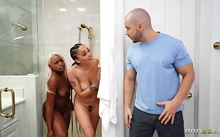 Big ass ebony MILF shares energized cock almost younger floozy