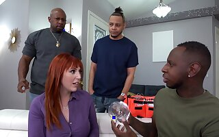 MMF interracial triple helter-skelter DP for redhead Lauren Phillips