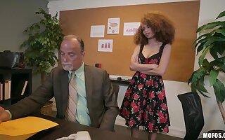 Slutty frizzled ebony secretary Cecilia Lion seduces older man and gets nailed