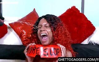 Ebony with big boobs face fucked hard
